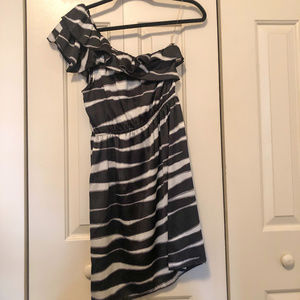 Women's One Shoulder Black and White Dress